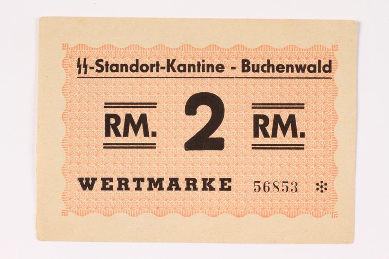 1992.95.1 front Buchenwald Standort-Kantine concentration camp scrip, 2 Reichsmark
