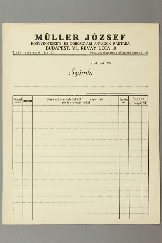 2016.583.3 front Blank order form from a paper store in Budapest