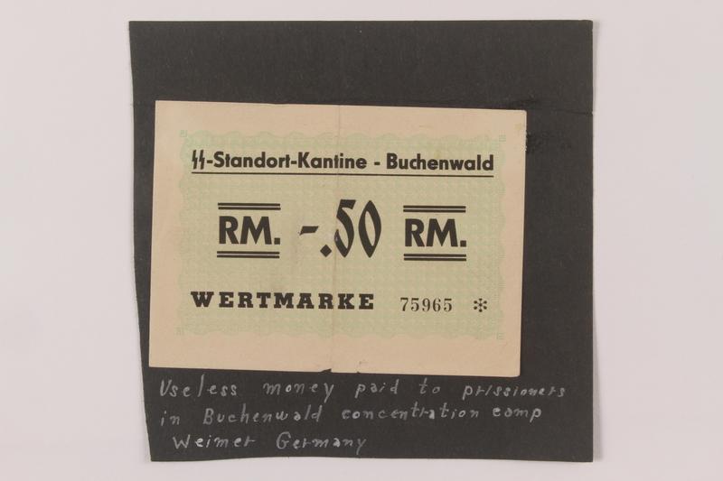 1993.105.1 front Buchenwald Standort-Kantine concentration camp scrip, .50 Reichsmark