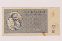 1993.106.1 front Theresienstadt ghetto-labor camp scrip, 10 kronen note  Click to enlarge