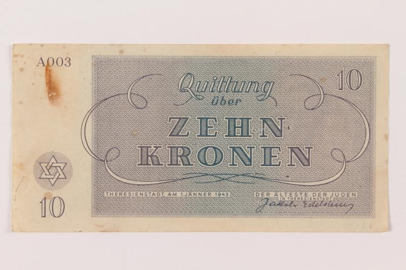 1993.106.1 back Theresienstadt ghetto-labor camp scrip, 10 kronen note