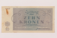 1993.106.1 back Theresienstadt ghetto-labor camp scrip, 10 kronen note  Click to enlarge