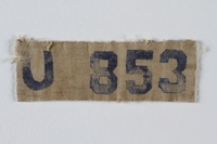 1993.112.2 front Prisoner badge imprinted U 353 issued at Lenzing concentration camp for use on a camp uniform  Click to enlarge