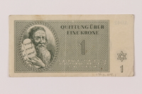 1993.114.1 front Theresienstadt ghetto-labor camp scrip, 1 krone note  Click to enlarge