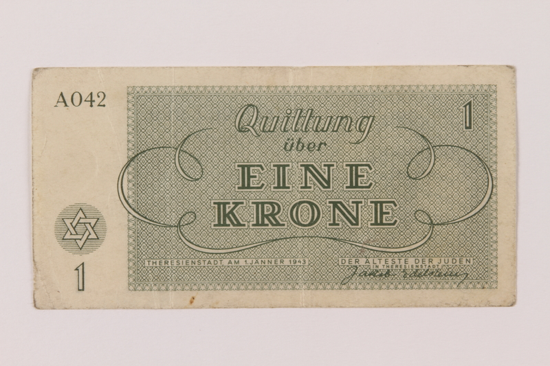 1993.114.1 back Theresienstadt ghetto-labor camp scrip, 1 krone note