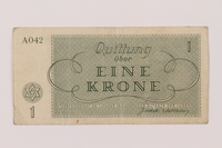 1993.114.1 back Theresienstadt ghetto-labor camp scrip, 1 krone note  Click to enlarge
