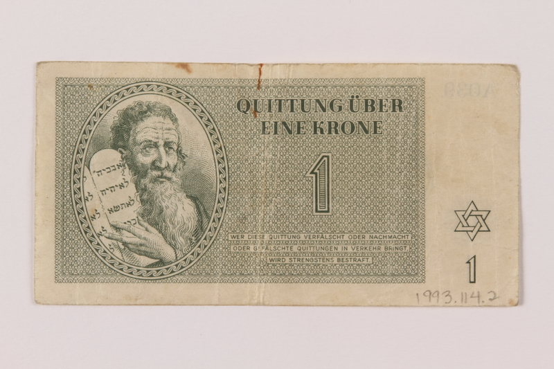 1993.114.2 front Theresienstadt ghetto-labor camp scrip, 1 krone note