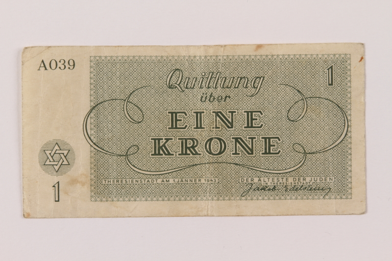 1993.114.2 back Theresienstadt ghetto-labor camp scrip, 1 krone note