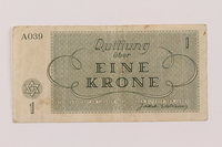 1993.114.2 back Theresienstadt ghetto-labor camp scrip, 1 krone note  Click to enlarge