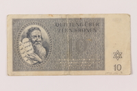 1993.114.3 front Theresienstadt ghetto-labor camp scrip, 10 kronen note  Click to enlarge