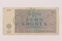 1993.114.3 back Theresienstadt ghetto-labor camp scrip, 10 kronen note  Click to enlarge