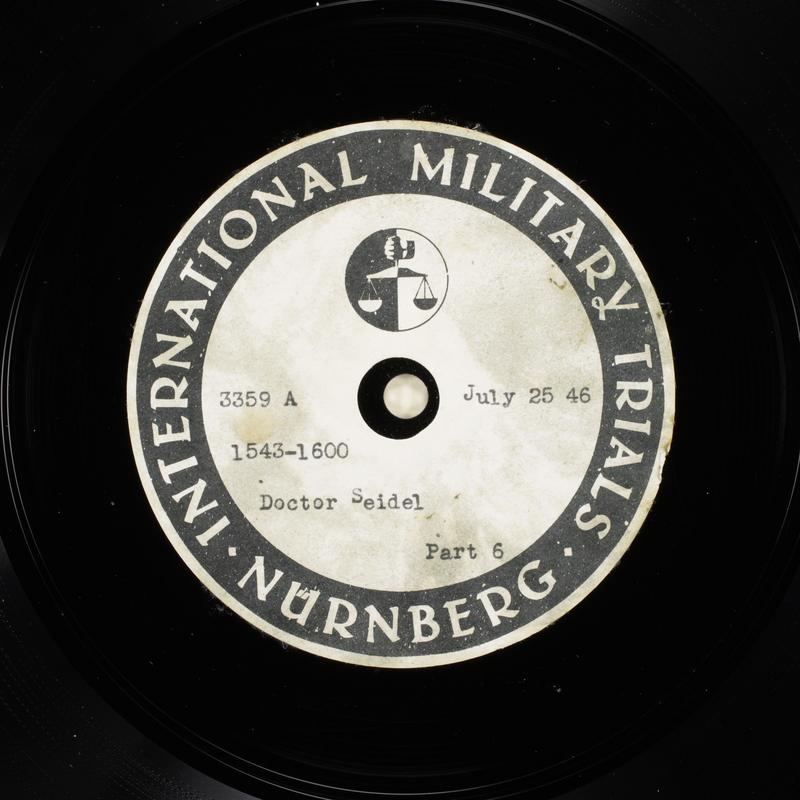 Day 186 International Military Tribunal, Nuremberg (Set A)