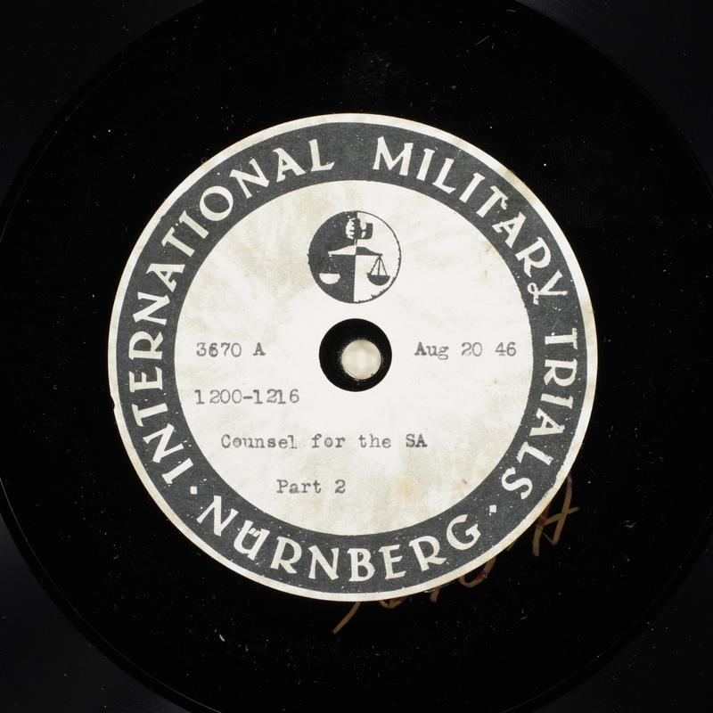 Day 207 International Military Tribunal, Nuremberg (Set A)