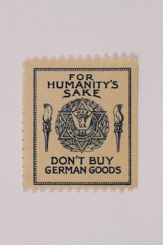 1993.116.3 a front Poster stamp with a printed appeal to not buy Nazi goods