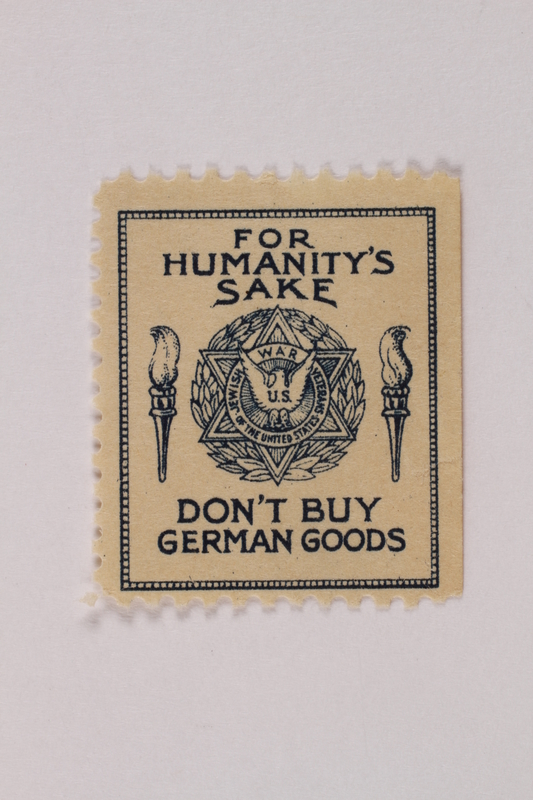 1993.116.3 b front Poster stamp with a printed appeal to not buy Nazi goods