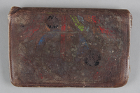 2013.178.6 front Leather wallet with a painted geometric design used by a Polish Jewish refugee  Click to enlarge