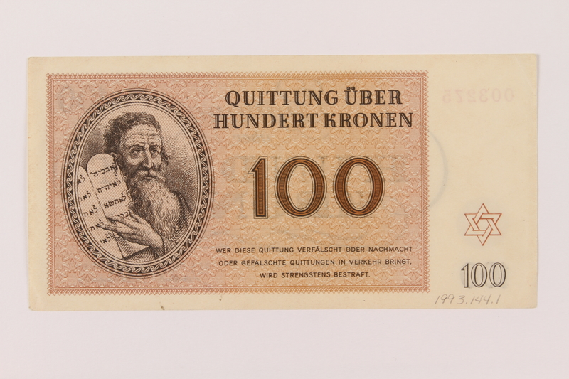 1993.144.1 front Theresienstadt ghetto-labor camp scrip, 100 kronen note