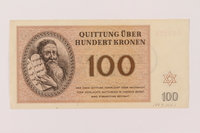 1993.144.1 front Theresienstadt ghetto-labor camp scrip, 100 kronen note  Click to enlarge