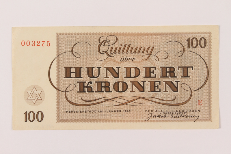 1993.144.1 back Theresienstadt ghetto-labor camp scrip, 100 kronen note