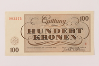 1993.144.1 back Theresienstadt ghetto-labor camp scrip, 100 kronen note  Click to enlarge