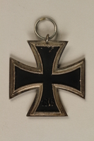 1993.151.2_a back WWII Iron Cross 2nd Class medal taken from the body of a dead German soldier by an American soldier  Click to enlarge