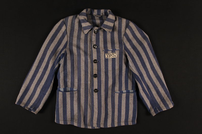 1993.153.1 front Concentration camp uniform jacket with 55857 patch worn by a Jewish doctor