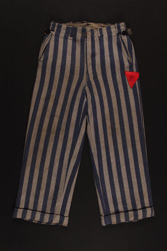 1993.159.1 front Concentration camp uniform pants with red triangle patch worn by Polish Jewish inmate