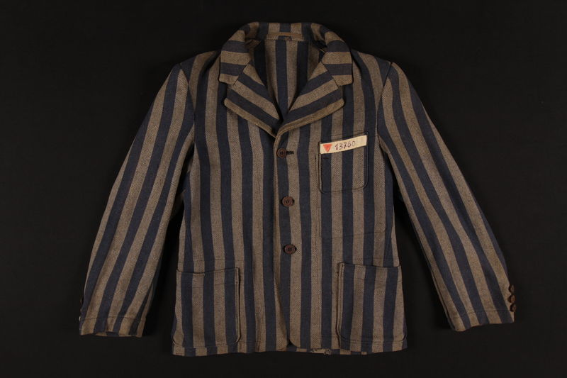 1993.159.2 front Concentration camp uniform jacket worn by a Polish Jewish inmate