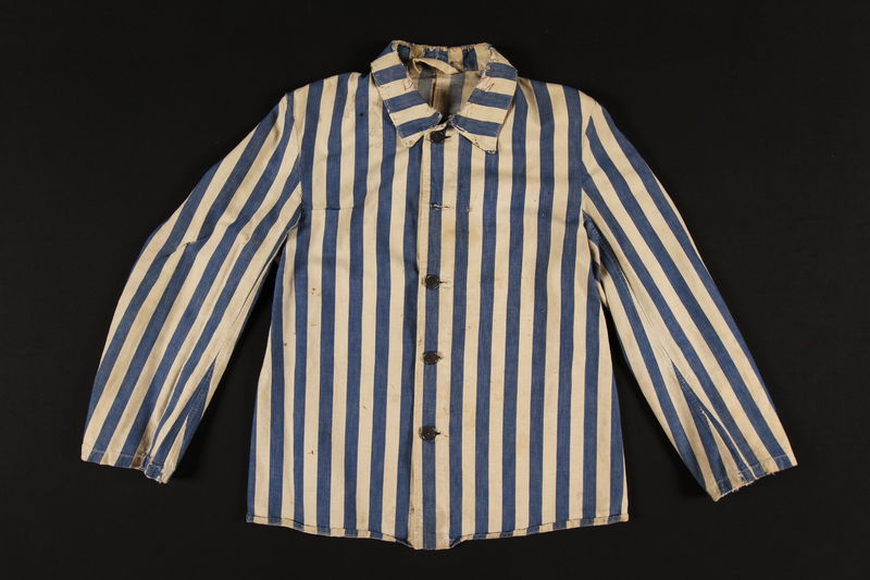 1993.160.1 front Concentration camp inmate uniform jacket issued in Auschwitz