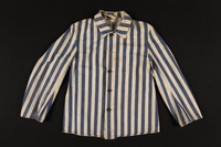 1993.160.1 front Concentration camp inmate uniform jacket issued in Auschwitz  Click to enlarge