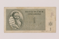1993.162.1 front Theresienstadt ghetto-labor camp scrip, 1 krone note  Click to enlarge