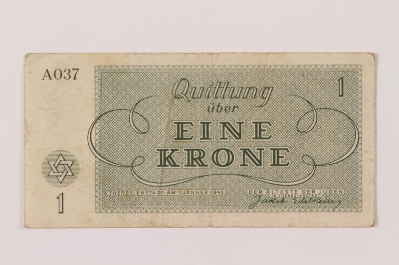 1993.162.1 back Theresienstadt ghetto-labor camp scrip, 1 krone note