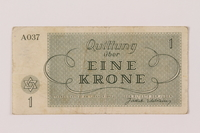 1993.162.1 back Theresienstadt ghetto-labor camp scrip, 1 krone note  Click to enlarge