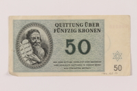 1993.162.10 front Theresienstadt ghetto-labor camp scrip, 50 kronen note  Click to enlarge