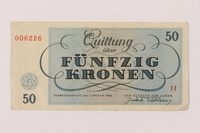 1993.162.10 back Theresienstadt ghetto-labor camp scrip, 50 kronen note  Click to enlarge
