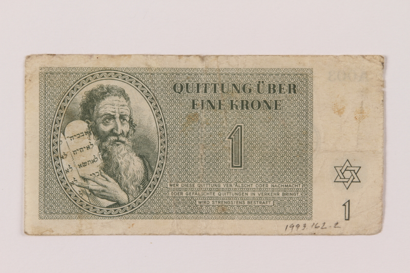 1993.162.2 front Theresienstadt ghetto-labor camp scrip, 1 krone note