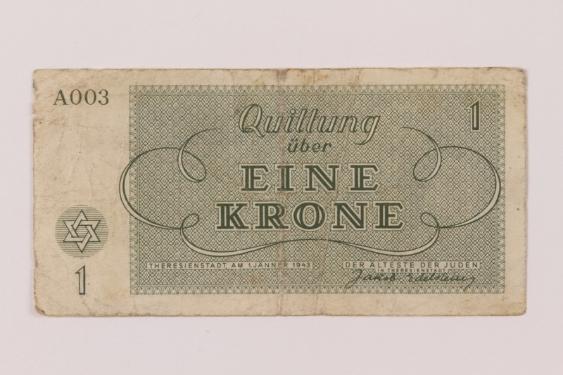 1993.162.2 back Theresienstadt ghetto-labor camp scrip, 1 krone note