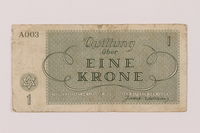 1993.162.2 back Theresienstadt ghetto-labor camp scrip, 1 krone note  Click to enlarge