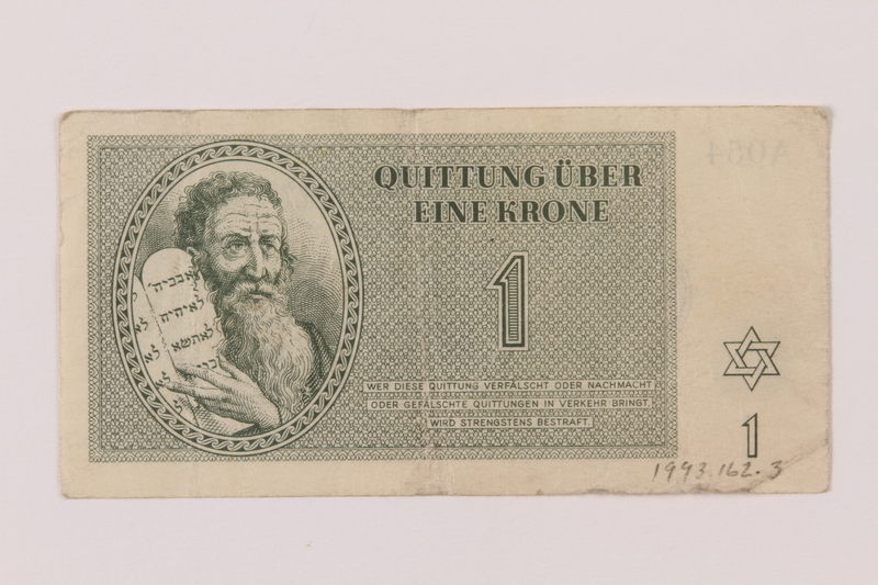 1993.162.3 front Theresienstadt ghetto-labor camp scrip, 1 krone note