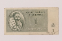 1993.162.3 front Theresienstadt ghetto-labor camp scrip, 1 krone note  Click to enlarge