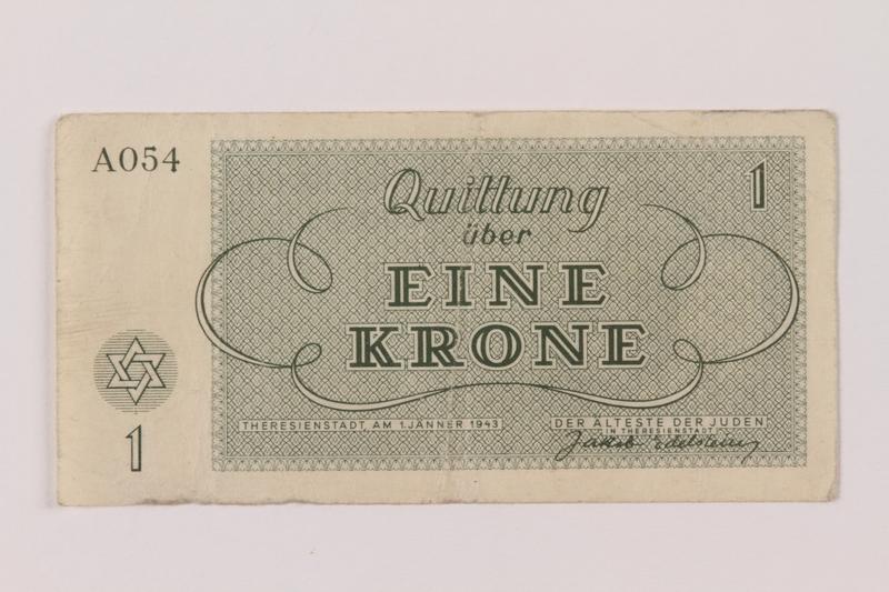 1993.162.3 back Theresienstadt ghetto-labor camp scrip, 1 krone note