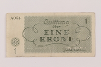 1993.162.3 back Theresienstadt ghetto-labor camp scrip, 1 krone note  Click to enlarge