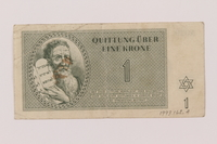 1993.162.4 front Theresienstadt ghetto-labor camp scrip, 1 krone note  Click to enlarge
