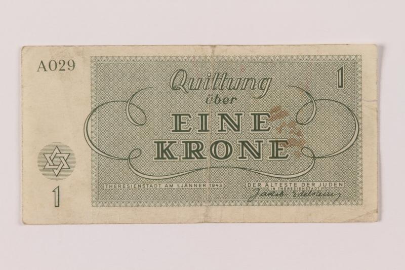 1993.162.4 back Theresienstadt ghetto-labor camp scrip, 1 krone note