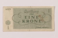 1993.162.4 back Theresienstadt ghetto-labor camp scrip, 1 krone note  Click to enlarge