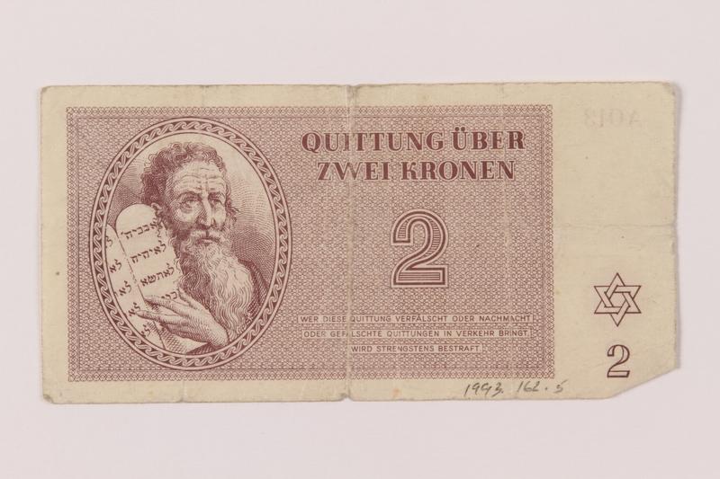 1993.162.5 front Theresienstadt ghetto-labor camp scrip, 2 kronen note