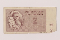 1993.162.5 front Theresienstadt ghetto-labor camp scrip, 2 kronen note  Click to enlarge