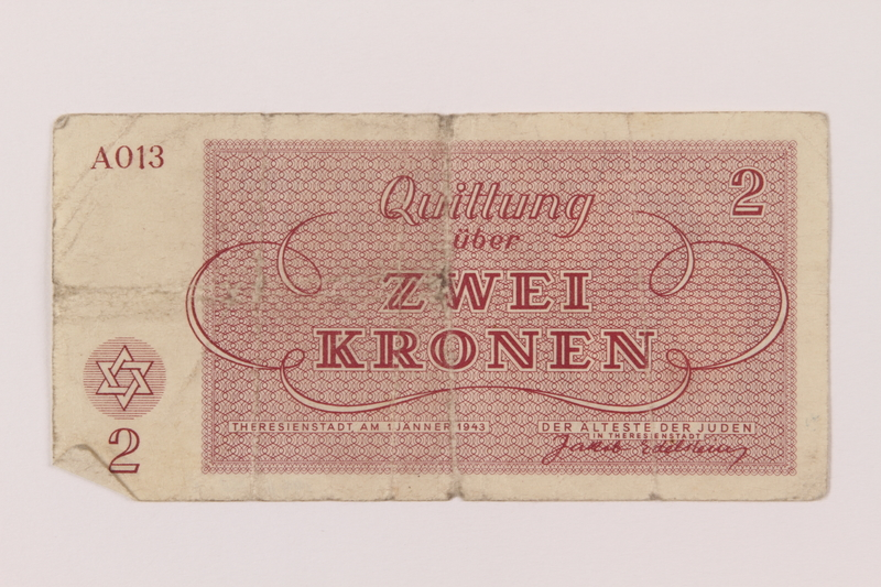 1993.162.5 back Theresienstadt ghetto-labor camp scrip, 2 kronen note
