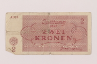 1993.162.5 back Theresienstadt ghetto-labor camp scrip, 2 kronen note  Click to enlarge