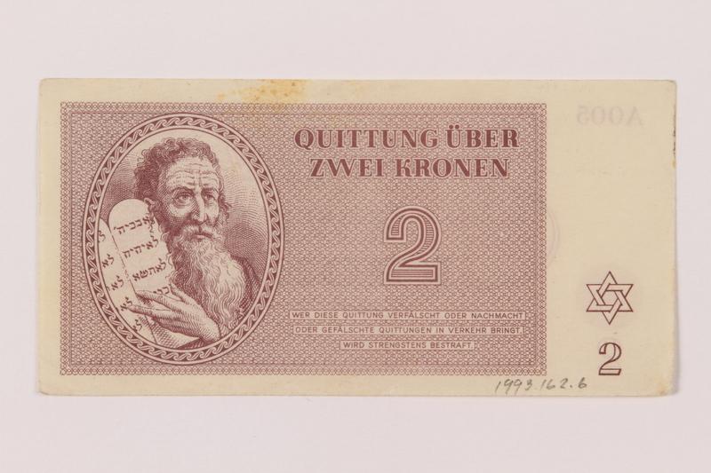 1993.162.6 front Theresienstadt ghetto-labor camp scrip, 2 kronen note